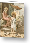 Jesus Painting Greeting Cards - Jesus as a Boy Playing with Doves Greeting Card by John Lawson