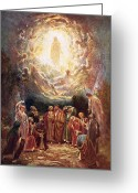 Disciples Greeting Cards - Jesus ascending into heaven Greeting Card by William Brassey Hole