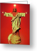 Jesus Christ Icon Mixed Media Greeting Cards - Jesus Bless No. 01 Greeting Card by Ramon Labusch