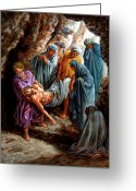 Christ Greeting Cards - Jesus Burial Greeting Card by John Lautermilch