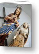 Female Likeness Greeting Cards - Jesus Christ and Saint statues in church Greeting Card by Sami Sarkis