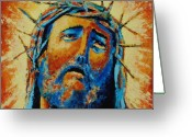 Iconography Painting Greeting Cards - Jesus Christ Greeting Card by Andrew Wilkie
