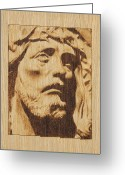 Wood Pyrography Greeting Cards - Jesus Christ Greeting Card by Conrad  Pinto