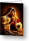 Pray Digital Art Greeting Cards - Jesus Christ Last Supper Greeting Card by Pamela Johnson