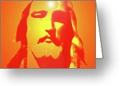 Jesus Christ Icon Mixed Media Greeting Cards - Jesus Christ No. 01 Greeting Card by Ramon Labusch