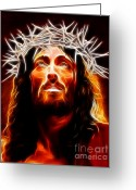 Pray Digital Art Greeting Cards - Jesus Christ Our Savior Greeting Card by Pamela Johnson