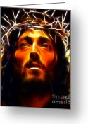 Catholic Greeting Cards - Jesus Christ The Savior Greeting Card by Pamela Johnson