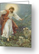 Sheep Greeting Cards - Jesus Christ The Tender Shepherd Greeting Card by Ambrose Dudley