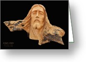 Figure Pyrography Greeting Cards - Jesus Christ Wooden Sculpture -  Four Greeting Card by Carl Deaville