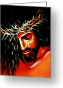 Good Friday Digital Art Greeting Cards - Jesus Crying For You Greeting Card by Pamela Johnson