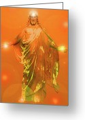 Jesus Christ Icon Mixed Media Greeting Cards - Jesus-Energy No. 01 Greeting Card by Ramon Labusch