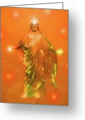Jesus Christ Icon Mixed Media Greeting Cards - Jesus-Energy No. 03 Greeting Card by Ramon Labusch