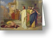 1913 Greeting Cards - Jesus Healing the Leper Greeting Card by Jean Marie Melchior Doze