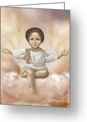 Christ Child Greeting Cards - Jesus in clouds Greeting Card by Lyubomir Kanelov