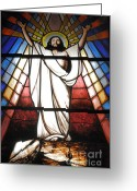 Resurrected Greeting Cards - Jesus is Our Savior Greeting Card by Gaspar Avila