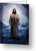 "\\\""storm Prints\\\\\\\"" Mixed Media Greeting Cards - Jesus is there Greeting Card by Mark Spears"