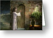 Classical Style Greeting Cards - Jesus knocking at the door Greeting Card by Cecilia  Brendel