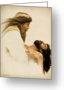 Faith Greeting Cards - Jesus Laid to Rest Greeting Card by Ray Downing