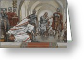 Soldiers Painting Greeting Cards - Jesus Led from Herod to Pilate Greeting Card by Tissot