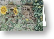 Tissot Greeting Cards - Jesus Looking through a Lattice with Sunflowers Greeting Card by Tissot