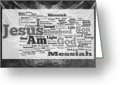 Vine Mixed Media Greeting Cards - Jesus Messiah Greeting Card by Angelina Vick
