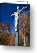 Sadness Greeting Cards - Jesus on the Cross Greeting Card by Adam Romanowicz