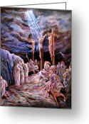 Biblical Greeting Cards - Jesus on the Cross Greeting Card by John Lautermilch
