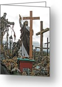 Must See Greeting Cards - Jesus on the Hill of Crosses. Lithuania Greeting Card by Ausra Paulauskaite