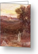 Jesus Painting Greeting Cards - Jesus on the mount of Olives Greeting Card by William Brassey Hole
