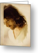 Face Greeting Cards - Jesus Praying Greeting Card by Ray Downing