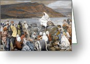 Listening Greeting Cards - Jesus Preaching Greeting Card by Tissot
