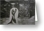 Heavens Drawings Greeting Cards - Jesus preaching to the prisoners after Jesus resurrection Greeting Card by Stacey Abrams