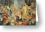 Jesus Painting Greeting Cards - Jesus Removing the Money Lenders from the Temple Greeting Card by James Edwin McConnell