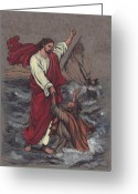 Jesus Art Painting Greeting Cards - Jesus Saves Peter Greeting Card by Morgan Fitzsimons