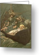 Disciples Greeting Cards - Jesus Sleeping During The Storm Greeting Card by John Lawson