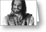 Pencil Greeting Cards - Jesus Smiling Greeting Card by Bobby Shaw