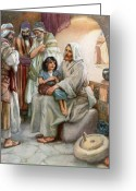 Little Boy Greeting Cards - Jesus Teaching the People Greeting Card by Arthur A Dixon