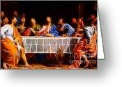 Pray Digital Art Greeting Cards - Jesus The Last Supper Greeting Card by Pamela Johnson