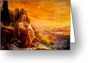 Good Friday Digital Art Greeting Cards - Jesus Thinking About People Greeting Card by Pamela Johnson