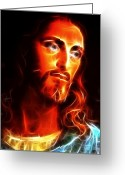 Pray Digital Art Greeting Cards - Jesus Thinking About You Greeting Card by Pamela Johnson