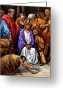 Jesus Painting Greeting Cards - Jesus Tormented Greeting Card by John Lautermilch