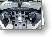 Knobs Greeting Cards - Jet Airplane Cockpit Greeting Card by Jaak Nilson