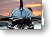 Sundown Greeting Cards - Jet at Sunset Greeting Card by Carolyn Marshall