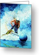Ski Art Painting Greeting Cards - Jet Blue Greeting Card by Hanne Lore Koehler