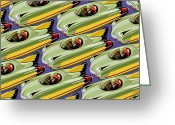 Antiques Greeting Cards - Jet Racer rush hour Greeting Card by Ron Magnes