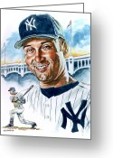 Sports Prints Greeting Cards - Jeter Greeting Card by Tom Hedderich