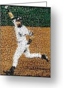 Mlb Mixed Media Greeting Cards - Jeter Walk-Off Mosaic Greeting Card by Paul Van Scott