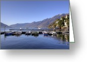 Mountain View Greeting Cards - jetty in Ascona Greeting Card by Joana Kruse