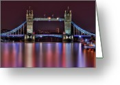 London Greeting Cards - Jewel Of The Night Greeting Card by Evelina Kremsdorf