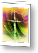 Religious Artist Digital Art Greeting Cards - Jeweled Cross Greeting Card by Michelle Frizzell-Thompson